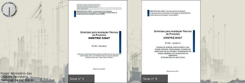 Diretrizes Sinat nº 3 e nº 9 - Normas utilizadas em Light Steel Framing
