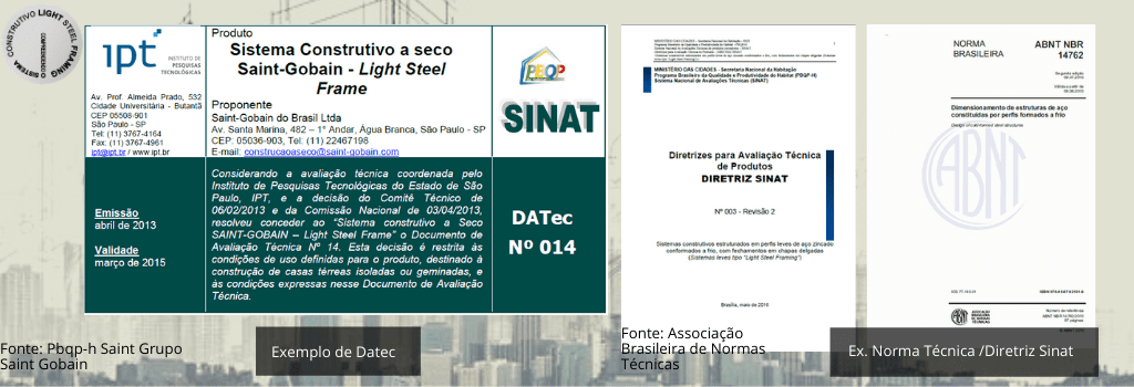 Exemplos de Datec - Tipo de Acervo Técnico Utilizado no Light Steel Framing